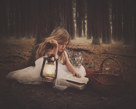 A little girl in a white dress is reading on old story book with an owl and glowing lantern in the dark woods for an education or imagination concept.