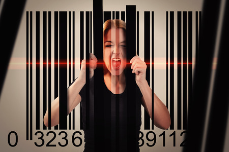 consumerism: A woman is trapped by a shopping commerce barcode with lines and a red scanner on her face. Use it for a consumerism or security metaphor.