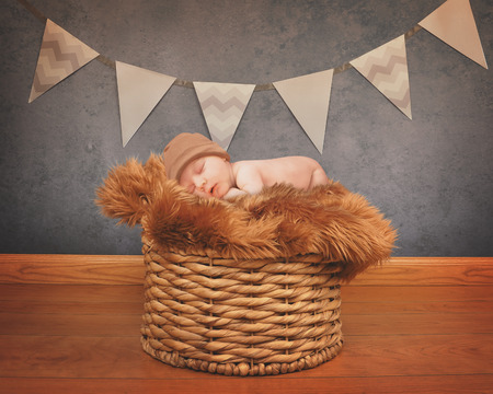 A portrait of a little newborn baby sleeping on a fur blanket on top of old basket for love or celebration photography concept. photo