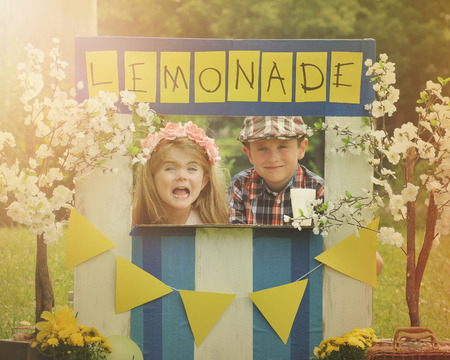 businessperson: Two little kids are selling lemonade at a homemade lemonade stand on a sunny day with a sign for an entrepreneur concept.