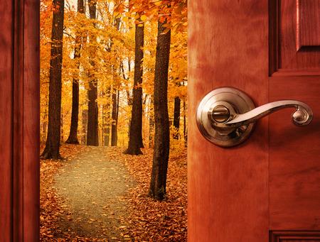 abriendo puerta: Una puerta se abre a un hermoso bosque con hojas de oto�o y un rastro de camino con la luz del sol en el cielo por un concepto escape o sue�o. Foto de archivo