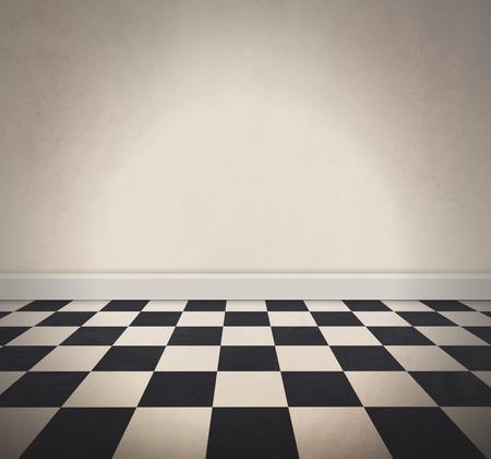 cuadros blanco y negro: Una retro viejo piso a cuadros blanco y negro y una pared blanca con textura en blanco. Añada su propio mensaje de texto a la zona vacía. Foto de archivo