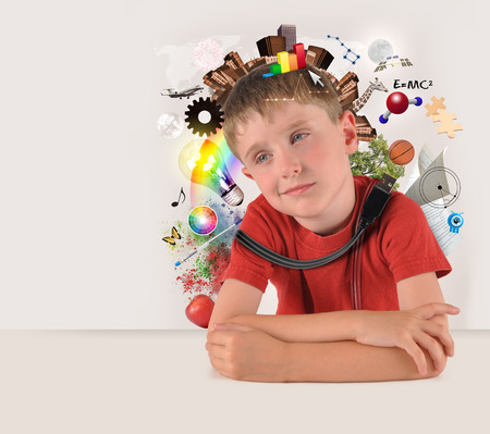 A child has various education and school objects around his head with copyspace and isolated white background. Subjects are art, science, technology and nature. Stock Photo