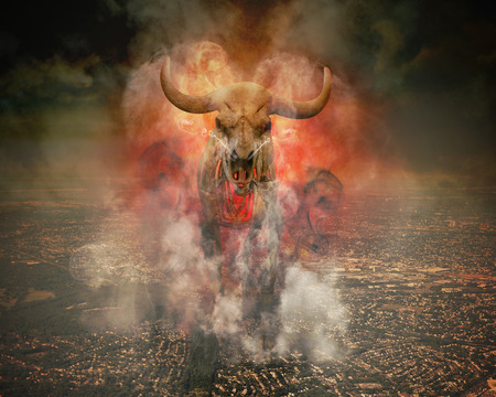 premonition: A wild skeleton bull with fire and smoke burning around it is walking on top of a polluted city horizon for a destruction or global warming concept.
