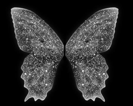美しい妖精天使の翼は、分離の空白の背景の上で白い輝きにあります。美しいファンタジー概念モデルに追加します。