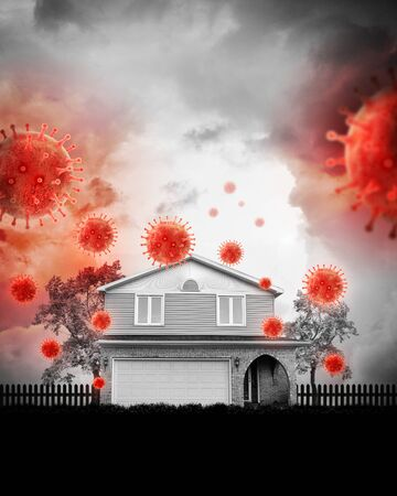 A family house is attacked by a pandemic virus for a social distancing concept regarding the coronavirus pandemic