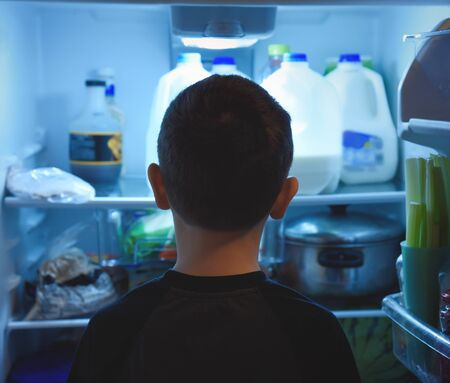 A young boy child is looking into a refrdigertor with food inside for a later dinner or healthy childhood nutrition concept about eating. Фото со стока