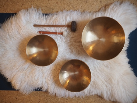 Tibetan singing bowls, sound of healing, meditation and relax, sound bath. Reklamní fotografie