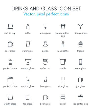 Drinks and glass line icon set. Pixel perfect fully editable vector icon suitable for websites, info graphics and print media.