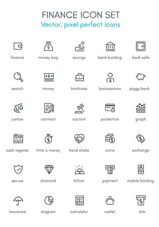 cash register building: Finance theme line icon set. Pixel perfect fully editable vector icon suitable for websites, info graphics and print media. Illustration