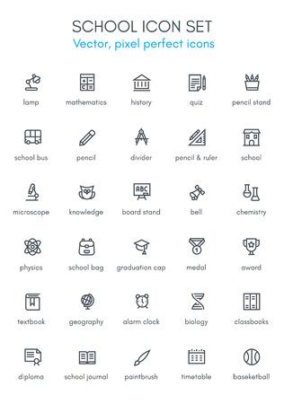 School thema lijn icon set. Pixel perfect volledig bewerkbare vector icon geschikt voor websites, info graphics en gedrukte media.