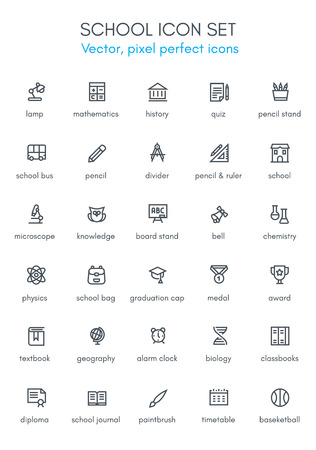 School theme line icon set. Pixel perfect fully editable vector icon suitable for websites, info graphics and print media.