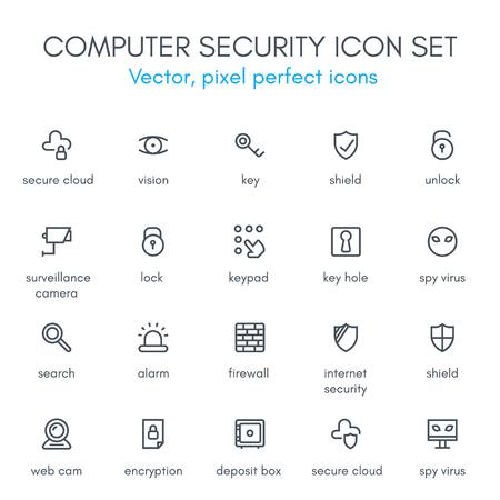 Conjunto del icono de línea de la seguridad informática. Píxel perfecta de vectores icono totalmente editable adecuado para sitios web, información gráfica y material de impresión.