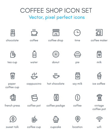 Coffee, coffee shop theme line icon set. Pixel perfect fully editable vector icon suitable for websites, info graphics and print media.
