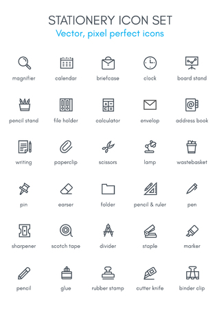 Stationery theme line icon set. Pixel perfect fully editable vector icon suitable for websites, info graphics and print media.