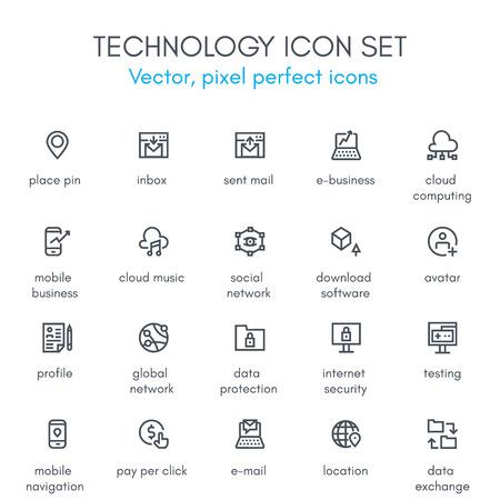 Conjunto de la tecnología icono de la línea tema. Píxel perfecto icono de vector completamente editable conjunto adecuado para los sitios web, información gráfica y material de impresión.