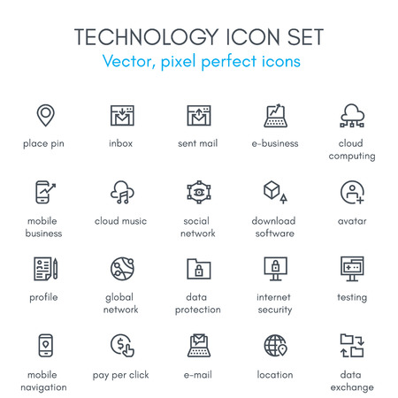 Technology theme line icon set. Pixel perfect fully editable vector icon set suitable for websites, info graphics and print media. Vectores