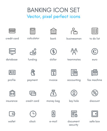 mobile banking: Banking and acounting theme line icon set. Pixel perfect fully editable vector icon set suitable for websites, info graphics and print media. Illustration