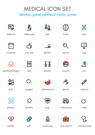 Medical, hospital theme line icon set. Pixel perfect fully editable vector icon suitable for websites, info graphics and print media.