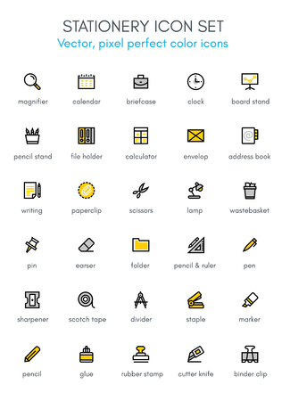 Stationery theme line icon set. Pixel perfect fully editable vector icon suitable for websites, info graphics and print media. Illustration