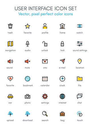 User interface theme line icon set. Pixel perfect fully editable vector icon set suitable for websites, info graphics and print media. Illustration