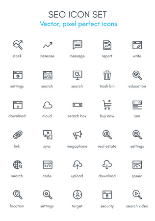 search box: Search engine optimization line icon set. Pixel perfect fully editable vector icon suitable for websites, info graphics and print media. Illustration