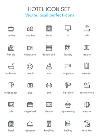 Hotel line icon set. Pixel perfect fully editable vector icon suitable for websites, info graphics and print media. Çizim