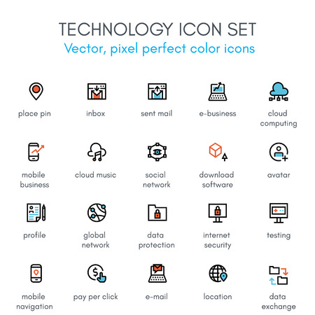 pixel perfect: Technology theme line icon set. Pixel perfect fully editable vector icon set suitable for websites, info graphics and print media. Illustration