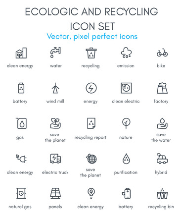 Ecologic and recycling line icon set. Pixel perfect fully editable vector icon suitable for websites, info graphics and print media.