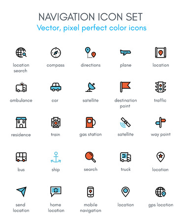 Navigation theme line icon set. Pixel perfect fully editable vector icon suitable for websites, info graphics and print media.