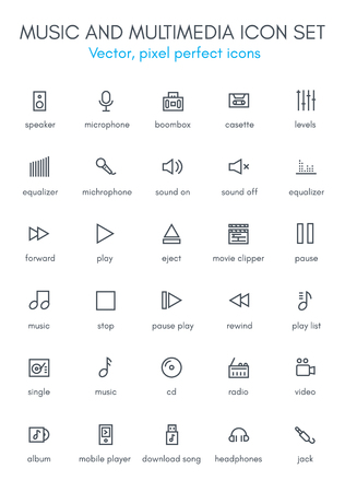 multimedia: Music and multimedia line icon set. Pixel perfect fully editable vector icon suitable for websites, info graphics and print media.