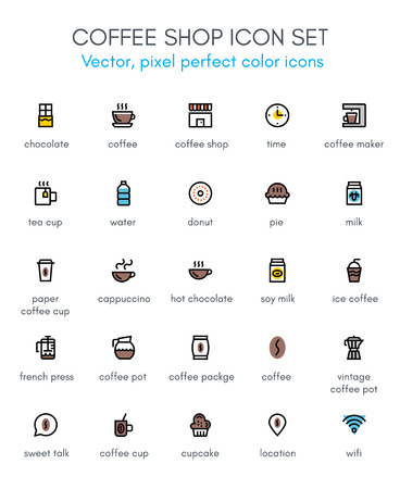 Coffee, coffee shop line icon set. Pixel perfect fully editable vector icon suitable for websites, info graphics and print media. Иллюстрация