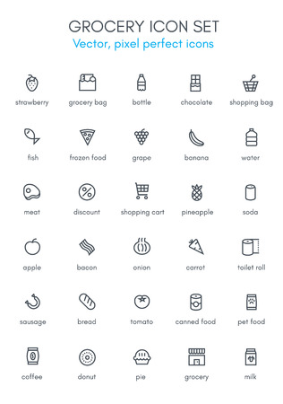 Grocery, market theme line icon set. Pixel perfect fully editable vector icon suitable for websites, info graphics and print media.