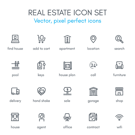pixel perfect: Real estate theme line icon set. Pixel perfect fully editable vector icon suitable for websites, info graphics and print media.