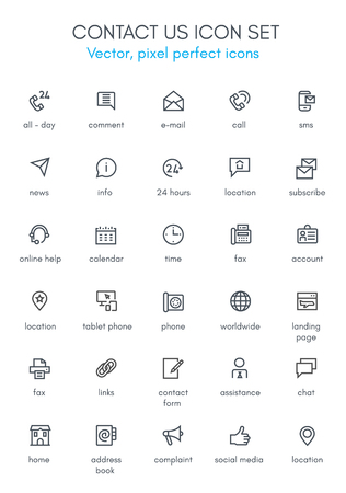 Contactez-nous thème icône de la ligne ensemble. Pixel parfait icône entièrement modifiable de vecteur approprié pour les sites web, informations graphiques et supports d'impression.