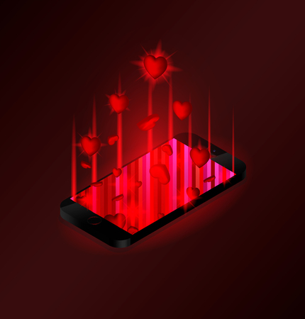Red hearts sign fly out of the phone screen. Abstract illustration phone and push notifications or likes from social networks. Ilustracja