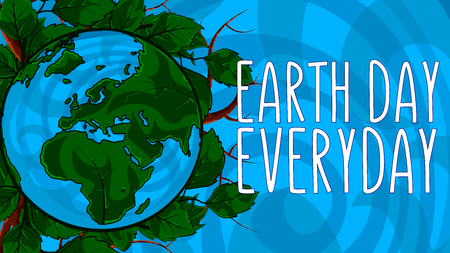 Happy Earth Day 22 April 2018. Poster template illustration of the Earth with continents in a leaf frame on background.