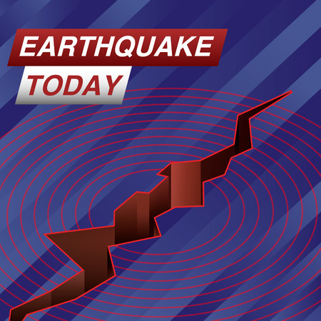 Earthquake Today Live Banner on Glowing Wavy Lines Background with an Abstract Earth Fault and Seismogram. Business  Technology News Background. Vector Illustration.