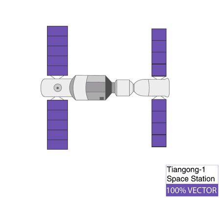Schematic Model of Chinas Tiangong-1 Space Station. Vector Illustration.