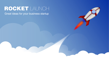 Rocket Ship in a Cartoon Style.Vector illustration with 3d Flying Rocket.Space Rocket Launch.Project Start up and Development Process. Good for Site Header, Poster, UI, Onboarding screens.