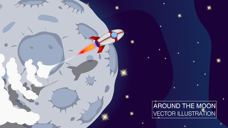 Rocket Ship in a Cartoon Style Fly Around the Moon. Vector illustration with 3d Flying Rocket. Good for Site Header, Poster, UI, on boarding screens.