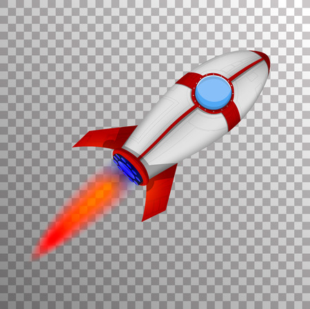 Rocket Ship in a Cartoon Style.Vector illustration with 3d Rocket on Transparent Background. Good for Site Header, Poster, UI, Onboarding screens.