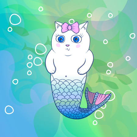 Pretty Cat Mermaid with Pink Bow Underwater. Fishes on Background. Cartoon Vector Character.