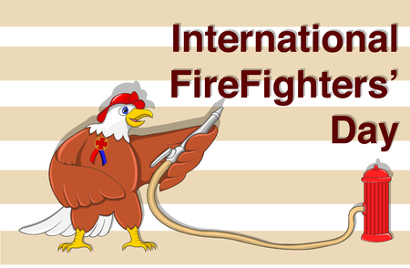 Illustration for International Firefighters' Day at may 4. Vector poster template with Eagle Firefighter with Fire Hydrant in cartoon style. Illusztráció
