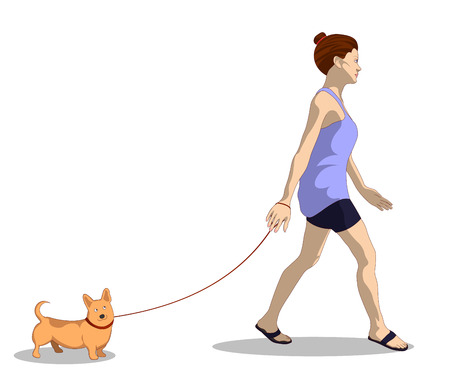 A woman in her home clothes walks a dog. Isolated vector illustration.