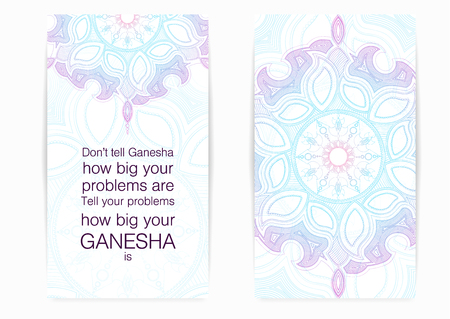 Don't tell Ganesha how big your problems are. Tell your problems how big your Ganesha is. Postcard with motivation, encouraging quote. Vector illustration. Ilustracja
