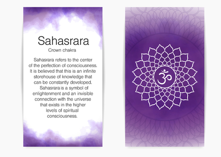 Seventh, crown chakra - Sahasrara. Illustration of one of the seven chakras. The symbol of Hinduism, Buddhism. Violet watercolor fog on background.