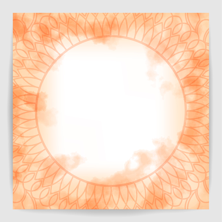 Orange watercolor fog background. Beautiful vintage round pattern. Hand drawn abstract background.