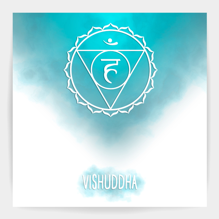 Fifth, throat chakra - Vishuddha. Illustration of one of the seven chakras. The symbol of Hinduism, Buddhism. Blue watercolor fog on background. Imagens - 102031868