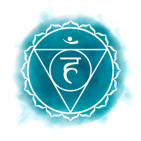 Fifth, throat chakra - Vishuddha. Illustration of one of the seven chakras. The symbol of Hinduism, Buddhism. Blue watercolor fog on background. Illustration